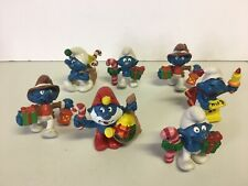Vintage Lot Of 7 Smurf Christmas Schleich Peyo Figures 1980's