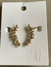 New H&M Blue Crystal Floral Flower Branch Earrings Gold