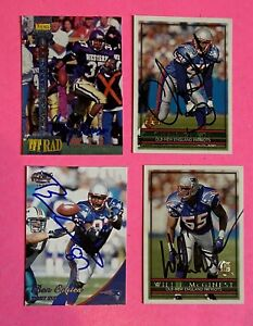 Lot of 4 New England Patriots Autographed Cards-McGINEST,HARRISON,COATES,SLADE