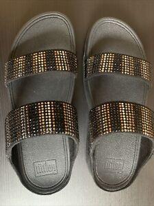 FitFlop Women's Flare Strobe Slide Sandals Size 8 Color: Black