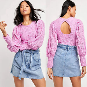 NEW Free People Tea Time Crop Top Pleated Balloon Sleeves Plumeria Pink L $98