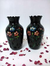 Set 2 jarrones de porcelana en miniatura. Japon. Pintados a mano.
