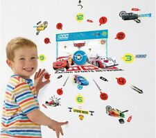 Disney Cars Tick Tock Teller Vinyl Wall Clock 50 Wall Sticker Glow In The Dark