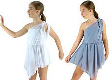 White Silver-Grey Grecian Lyrical Ballet Modern Dance Costume Dress - 6 8 10 12