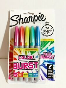 Sharpie Color Burst Permanent Marker Fine Point 5 markers