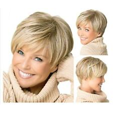 Fashion Short Cut Blond Straight Layered Synthetic Hair Wig For Women Sale 2019