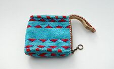 Native American Lakota beaded purse - hide with wool felt lining - turquoise