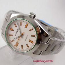 2d0a98b3fe84 Cristal De Zafiro Dial Blanco 40 mm parnis SS con caja fecha Reloj para  Hombres Automático Movimiento