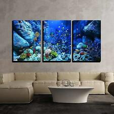 "Wall26 - Underwater World - Canvas Art Wall Home Decor - 16""x24""x3 Panels"