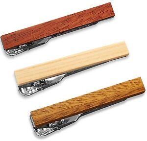 Wood Tie Clip Skinny Slim Tie Bar Set 3-Pcs 1.5 Inch, Real Wood Grain SET-5