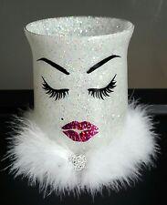 White glitter makeup holder. Brushes. Lashes. Pink lipstick kiss. Vanity decor