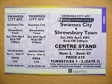 2005 League Cup Ticket- SWANSEA CITY v SHREWSBURY TOWN, original