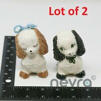 Miniature Decorative Cocker Spaniel Puppy Ceramic Figurines Art (2 PCS)