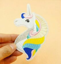 Magic Rainbow Unicorn Head Iron Sew On Embroidered Patch Badge for Kids Clothes