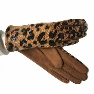 Women Winter Warm Gloves Leopard Suede Leather Wrist Touch Screen Driving Mitten