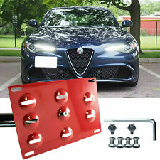 Front Bumper Tow Hook License Plate Mount Bracket For 2017-up Alfa Romeo Giulia