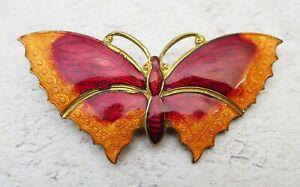Large Red Enamel Butterfly Brooch, Orange Wing Detail