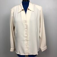 Joanna Blouse 2XL Button Front Long Sleeve Beige 100% Polyester