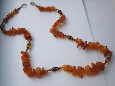 Vintage natural amber necklace glass beads 26 inches