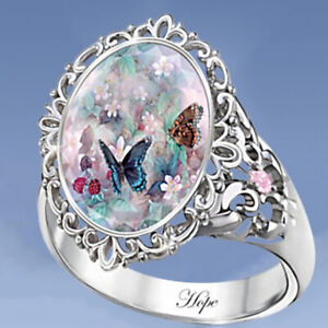 925 Sterling Silver plated Diamond Engagement Ring Butterfly Beautiful Hope Gift
