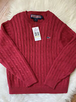 Vineyard Vines Girls Pink Cotton Cableknit Crewneck Sweater Girls 4t NWT