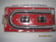 """36"""" Chrome Stainless Steel Flexible Radiator Hose Kit W/ Black Hose Caps"""