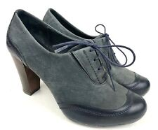CAMPER Spain | Blue Leather Lace Up Oxford Wooden High Heels | Womens 36 / US 6