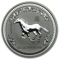 2002 Australia 50 Cents Series 1 Lunar Year of the Horse 1/2 oz Silver BU Coin