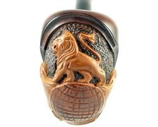 "*Lion* Handcarved pear tobacco smoking pipe (for 9mm filter) | pipes -7.1""(18cm)"