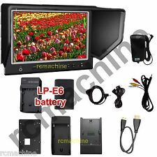 "Lilliput 7"" 664/P IPS Peaking HDMI In Monitor Canon 5D2 3+LP-E6 Battery+charger"