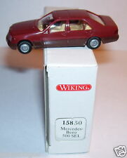 RARE WIKING HO 1/87 MERCEDES BENZ 500 SEL LIMOUSINE ROUGE FONCE IN BOX