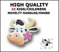 KNOBS HANDLES RUBBER CHILDREN WARDROBE CABINET CUPBOARD COW  SET OF 2