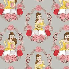 Disney Fabric - Beauty & The Beast - Belle - Grey - 100% Cotton