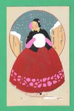 VINTAGE FRENCH ORIGINAL HAND-PAINTED ART POSTCARD LADY HAT MUFF SNOW GOWN