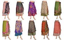 20 PC Lot Vintage Indian Silk Skirts Women Long Wrap Bohemian Flamenco Hippie