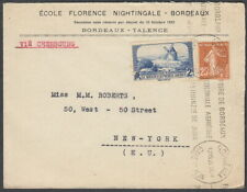 6253 - FRANCE 1938 FLORENCE NIGHTINGALE SCHOOL COVER BORDEAUX T0 NYC