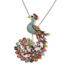 "ROYAL PEACOCK MULTI GENUINE AUSTRIAN CRYSTAL STAINLESS STEEL NECKLACE 20"" COLORS"