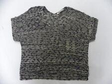 Roxy Women Lovely Cruise Gray & Beige S/S Pullover Crew Sweatshirt Sz Medium