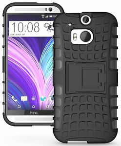 BLACK GRENADE GRIP RUGGED TPU SKIN HARD CASE COVER STAND FOR HTC ONE M8 (2014)