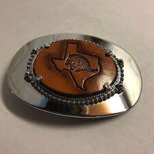 Texas Armadillo Leather Insert Belt Buckle