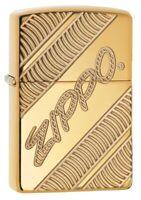 Zippo Armor High Polish Brass Coiled Windproof Pocket Lighter, 29625