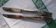 Oneida Oneidacraft Deluxe LASTING ROSE LOT 2 Dinner Knife knives Stainless USA