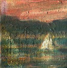 Skaneateles Lake Sailing  3x3x1.5 in.  Original Oil on canvas Hall Groat Sr.