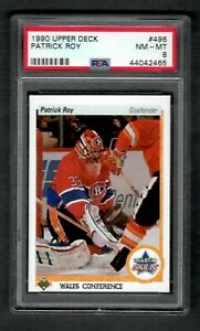 1990 Upper Deck #496 Patrick Roy PSA 8 NM-MT Canadians