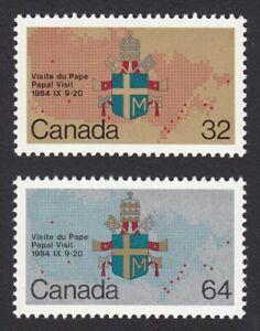 PAPA PAUL II VISIT = COAT-OF-ARMS, MAP = Canada 1984 #1030-1031 MNH