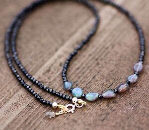 Natural Black Spinel & Black Opal Necklace 14K Gold Filled , 12th 14th 22nd 34th