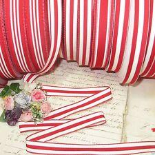 "1y 5/8"" French Red White Stripe Grosgrain Ribbon Trim Candy Cane Jacquard Vtg"
