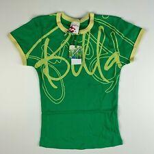 Billabong Womens KENNEDY Logo Spellout logo Ringer T-Shirt Surf 90s Spring Green