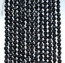 """4MM  AGATE GEMSTONE BLACK FACETED ROUND LOOSE BEADS 15"""""""