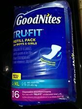 GoodNites Tru Fit refill pack unisex L XL 16 total NEW SEALED INSERTS